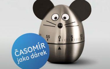 Stříbrná kuchyňská minutka s černými oušky, myšák Časomír z reklamy GE Money Bank