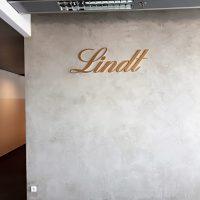 Zlatě nastříkaný 3D nápis Lindt z plexiskla přilepený na šedobílou žíhanou zeď ve středu horní poloviny. V místnosti se nachází černošedý koberec složený ze čtverců, vlevo můžeme vidět chodbu do další místnosti a nad nápisem zářvkové světlo a tmavě šedý strop.