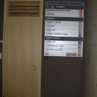 Modulový orientační systém Centra obchodní spolupráce, přimontované na šedé zdi, vedle dřevěné dveře