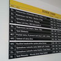 Informační černo-žlutá tabule s magnetickými prvky, nápis OCENĚNÉ STAVBY, výčet staveb, připevněno na bílé zdi, roh dveří