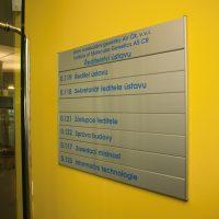 Modulová orientační tabule Ústavu molekulární genetiky AV ČR, kovová deska s modrými popisky místností, přišroubováno na žluté zdi, detail skleněných dveří