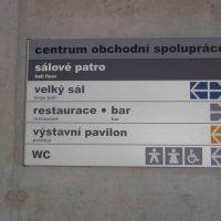 Tabulka s modulovým systémem, nápis Centrum obchodní spolupráce, orientační popisky, přišroubováno na šedé zdi