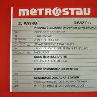 Čtvercová tabulka, modulový orientační systém 2. patra divize 6 areálu Metrostav, přišroubováno na červené zdi