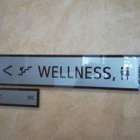Bílá skleněná informační tabulka s černým nápisem WELLNESS, piktogramy a šipkou, pod ní menší tabulka s šipkou a nápisem WC, přilepené na zdi
