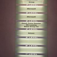 Obdélníkový podsvícený skleněný panel s označením pater na hliníkových pruzích, přišroubovaný na zdi
