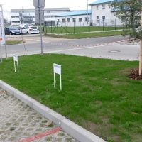 Tři bílé cedule s nápisem RESERVÉ v trávníku u parkoviště ze zámkové dlažby, trojboký stojan, mladá borovice, komplex budov